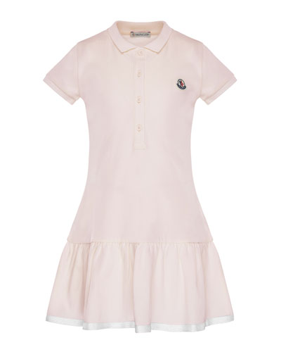Short-Sleeve Polo Dress w/ Grosgrain Hem, Size 4-6