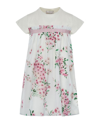 Mini Me Floral Woven & Jersey Dress, Size 8-14