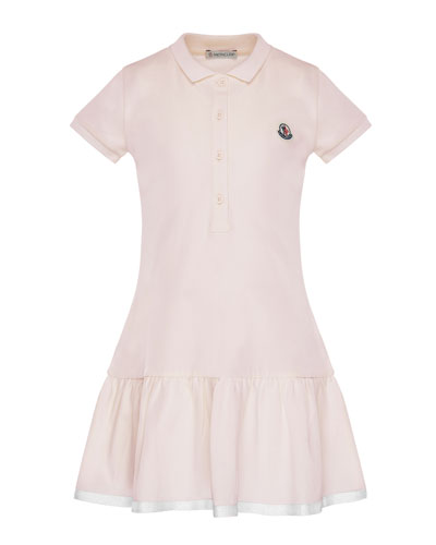 Short-Sleeve Polo Dress w/ Grosgrain Hem, Size 8-14