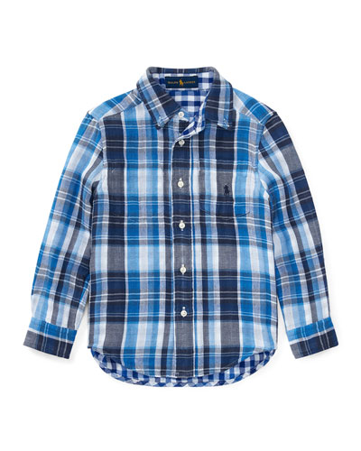 Double Cloth Reversible Plaid Button-Down Shirt, Size 5-7