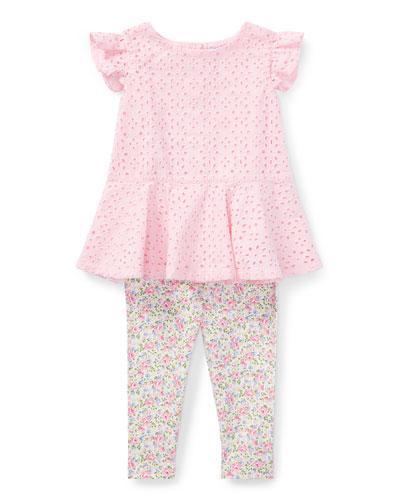 Cotton Batiste Eyelet Top w/ Floral Leggings, Size 9-24 Months