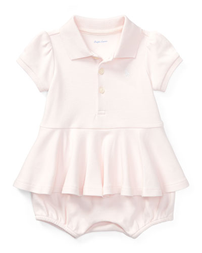 Mesh Peplum Polo Play Dress, Pink, Size 3-18 Months