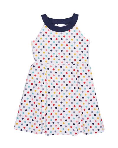Pique Polka-Dot Dress, Size 7-14