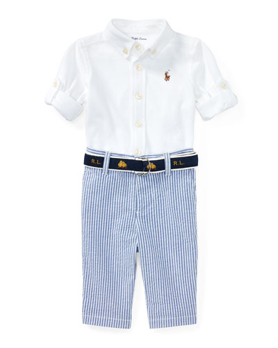 Oxford Mesh Button-Down Shirt w/ Seersucker Pants, Size 9-24 Months