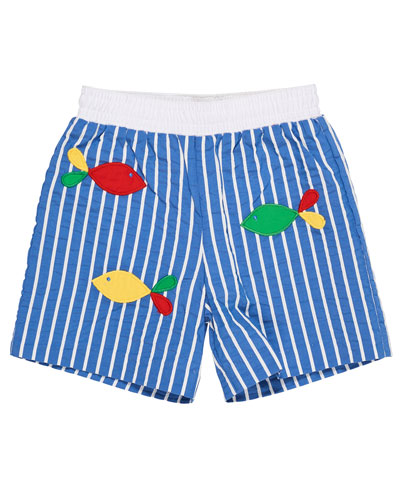 Striped Fish-Embroidered Swim Trunks, Size 2-4