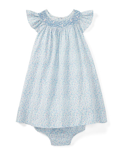 Poplin Floral Smock Dress w/ Bloomers, Blue, Size 9-24 Months