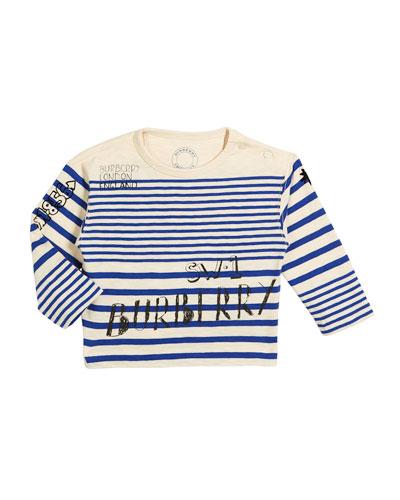 Stripe Scribble-Print Long-Sleeve Shirt, Size 6M-3