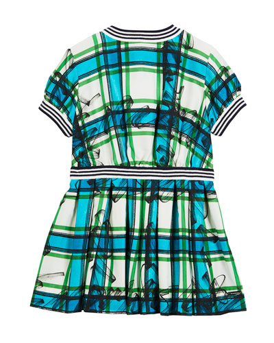 Melby Scribble Check Silk Pleated Dress, Size 4-14
