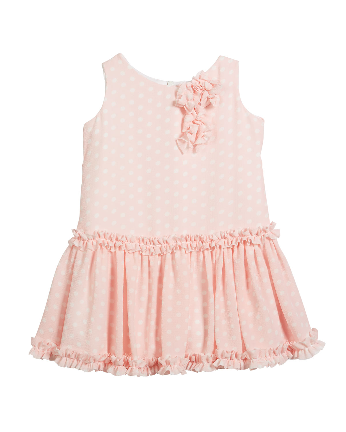 Pretty in Pink Polka-Dot Ruffle Dress, Size 2-6