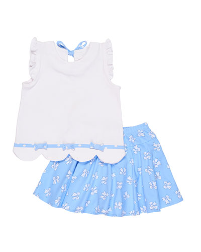 Scalloped Ruffle Top w/ Bow-Print Skort, Size 2-6X