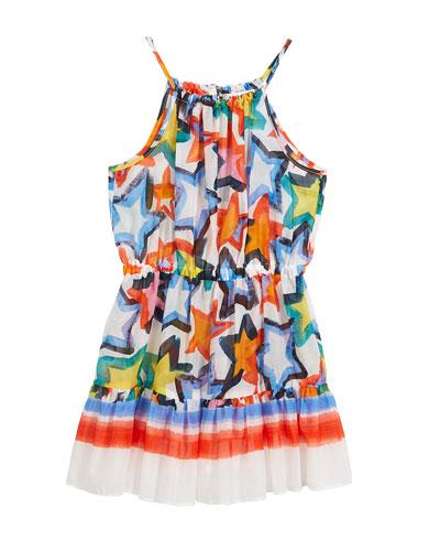 Stars-Print Tiered Halter Dress, Size 8-14