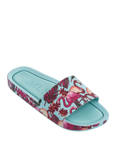 Mini Melissa Mel Beach Slide Flamingo Sandal, Kids