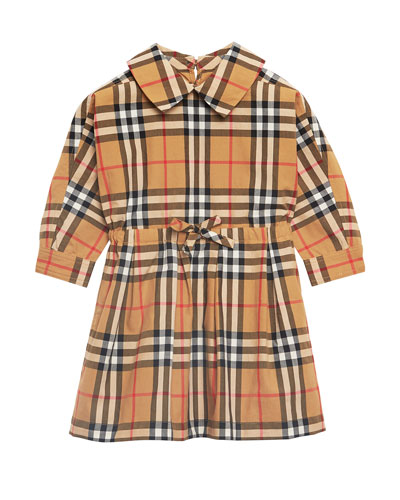 Mini Crissida Long-Sleeve Check Dress, Size 6 Months-3