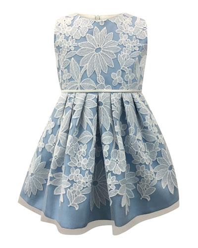 Sleeveless Pleated Lace Dress, Size 2-6