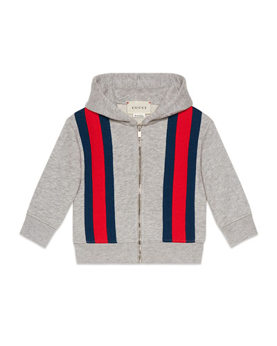 Hooded Zip-Up Web-Trim Jacket, Size 9-36 Months