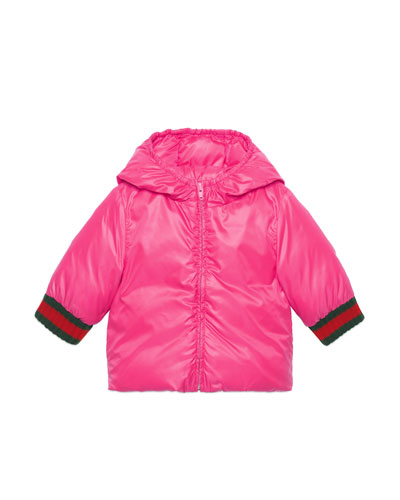 Quilted Vintage Logo Hooded Jacket w/ Web Knit Cuffs, Size 24-36 Months