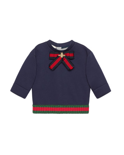 Web Bow & Hem Long-Sleeve Sweatshirt, Size 12-36 Months