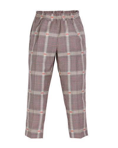 Prince of Wales Plaid & GG Fil Coupe Dress Pants, Size 4-12