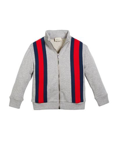 Zip-Front Web-Trim Jogging Jacket, Size 4-12