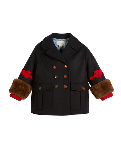 Gucci Double-Breasted Wool w/ Faux-Fur Cuffs, Size 4-12