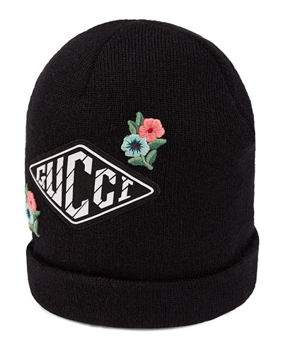 4734fff5f Kids  Wool Knit Beanie Hat w  Flower   Game Patches Quick Look. Gucci