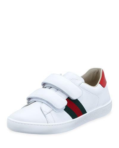 New Ace Web-Trim Leather Sneakers, Kids
