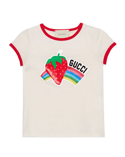 1cb13906a267 Glitter Strawberry Rainbow T-Shirt