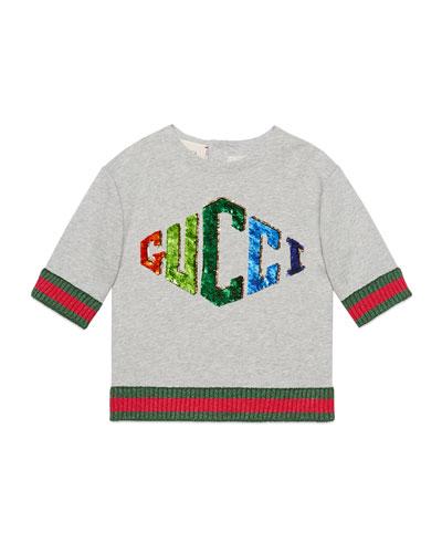 b1f543113138 Gucci Cotton Kids Top. Sequin Rhombus Logo Top w  Metallic Knit ...