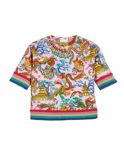 Dragon & Pagodas Jersey Top w/ Knit Rainbow Trim, Size 4-12