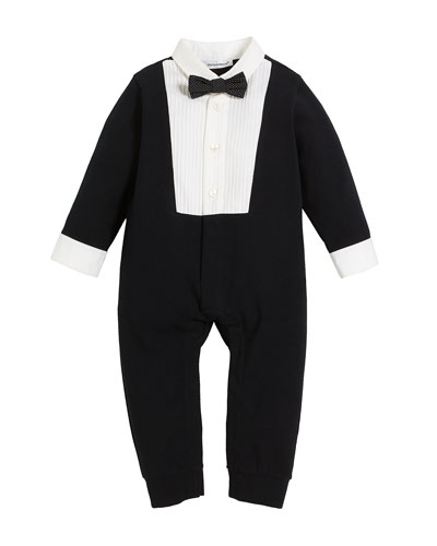 Dolce & Gabbana Long-Sleeve Tuxedo Coverall, Size 3-12