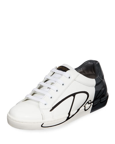 Two-Tone Leather Logo Sneakers, Kids
