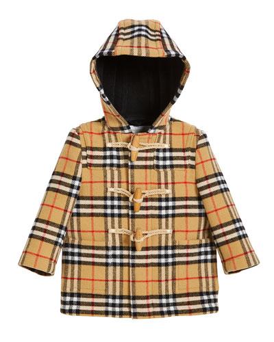 Brogan Check Hooded Virgin Wool Coat, Size 12M-3