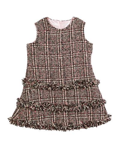 Tweed Fringe A-Line Dress, Size 2-6