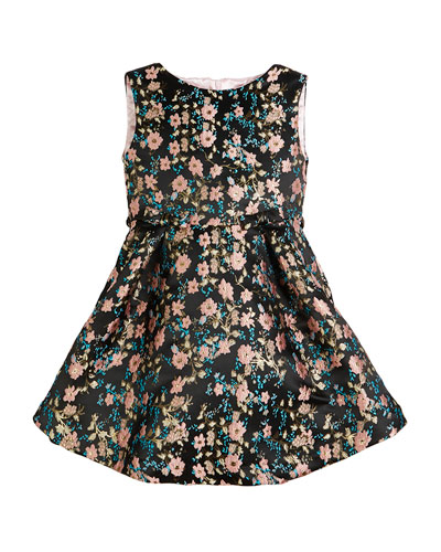 Floral Jacquard Sleeveless Dress, Size 7-14
