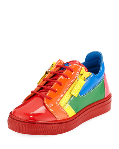 Rainbow Patent Leather Low-Top Sneakers, Toddler/Kids