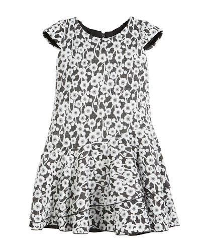 Gaby Textured Knit Floral Cap-Sleeve Dress, Size 7-16