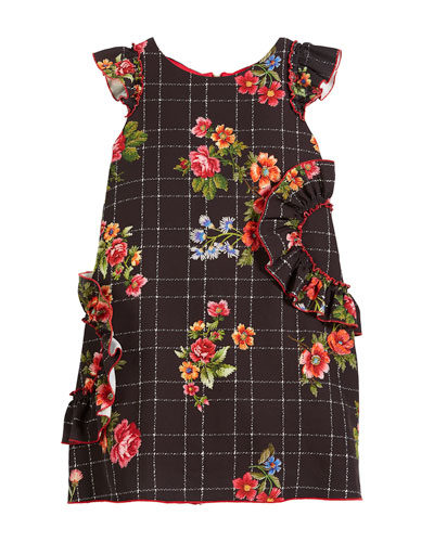Blossom-Printed Ruffle-Trim Dress, Size 7-16