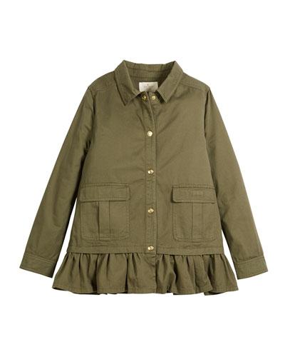 kate spade new york ruffle-hem twill field jacket,