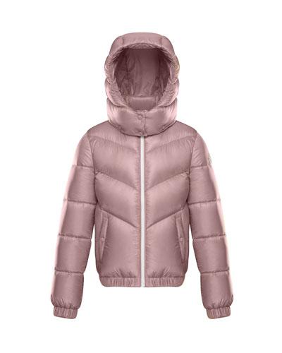 Adelie Puffer Jacket w/ Hood, Light Pink, Size 4-6