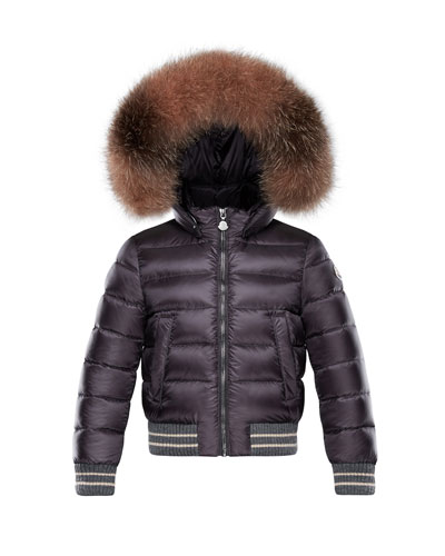 Moncler Arabelle Quilted Ribbed-Trim Puffer Jacket w/ Fur