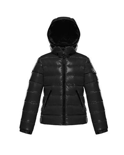 Moncler Bady Fitted Puffer Jacket, Black, Size 8-14