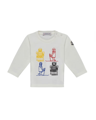 Long-Sleeve Robot Embroidered Top, White, Size 12M-3T
