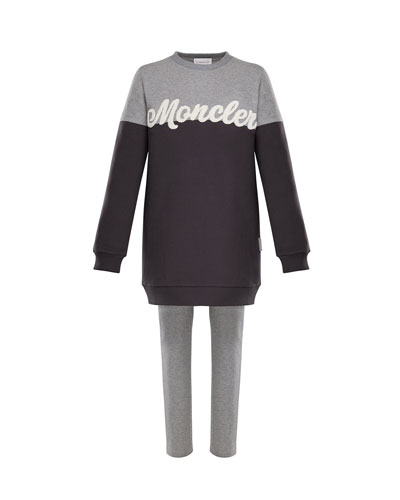 Two-Tone Logo Sweater w/ Leggings, Size 8-14