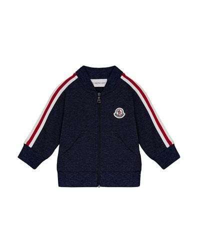 Moncler Stripe-Sleeve Zip-Up Cardigan, Navy, Size 12M-3T