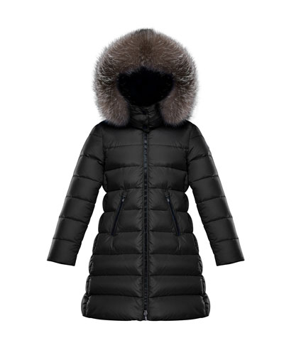 Abelle Quilted Puffer Coat w/ Fur Trim, Size 4-6