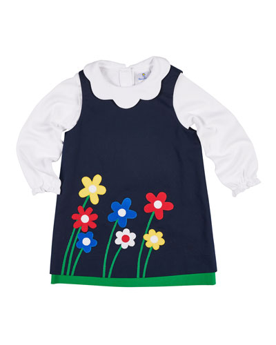 Twill Flower Appliqué Dress w/ Scallop-Collar Top, Size 2-6X