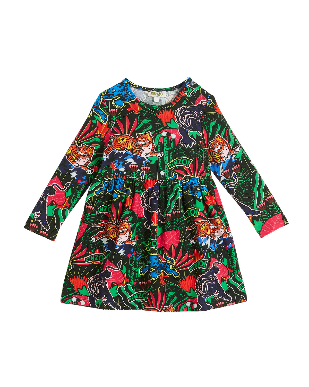 Jungle-Print Long-Sleeve Velour Dress, Size 2-3
