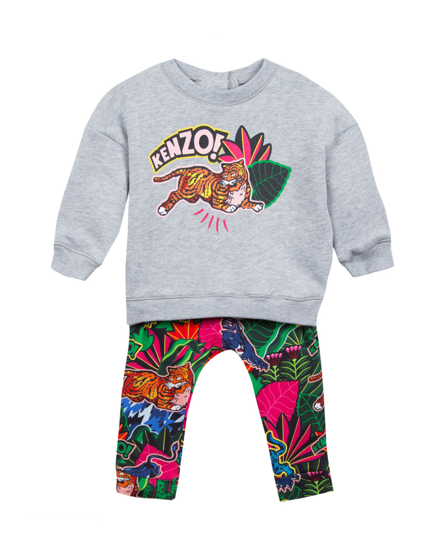Jumping Tiger Sweatshirt w/ Jungle-Print Leggings, Size 2-4
