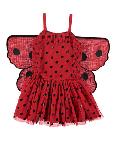 Ladybug Tulle Sleeveless Dress w/ 3D Wings, Size 4-10