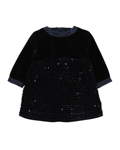 Velvet & Sequin Long-Sleeve Dress, Size 12-18 Months